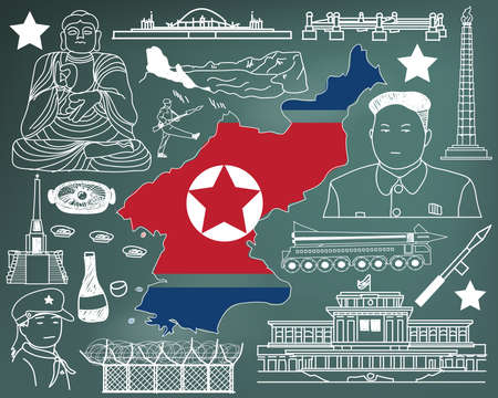 Travel to North Korea (if you can) doodle drawing icon with culture, costume, landmark and cuisine tourism concept in blackboard background