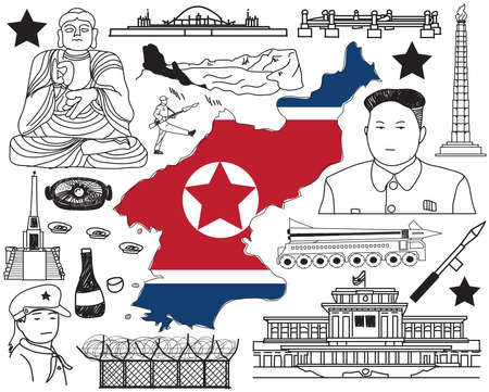 Travel to North Korea (if you can) doodle drawing icon with culture, costume, landmark and cuisine tourism concept in isolated background