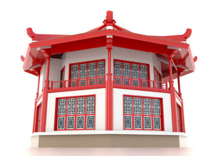 roof construction: 3D red Chinese pavilion temple building in white background