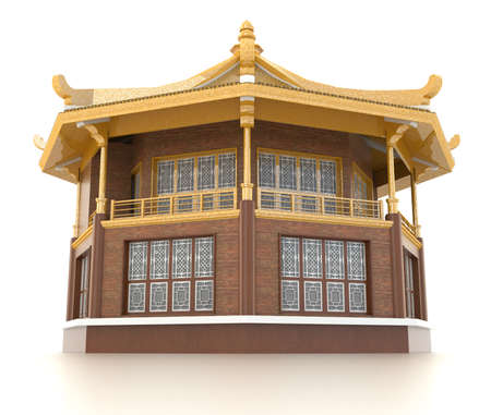 3D golden Chinese pavilion temple building in white background Stock Photo - 71555872