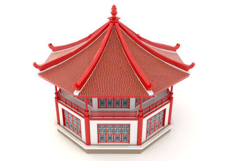 Upper view of 3D red Chinese pavilion temple building in white background  Stock Photo