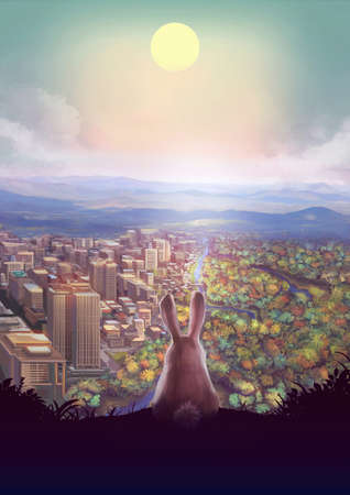 Cartoon illustration of cute white rabbit bunny standing on the hill watching urban cityscape and forest landscape below with afternoon sun in the sky Stock Photo