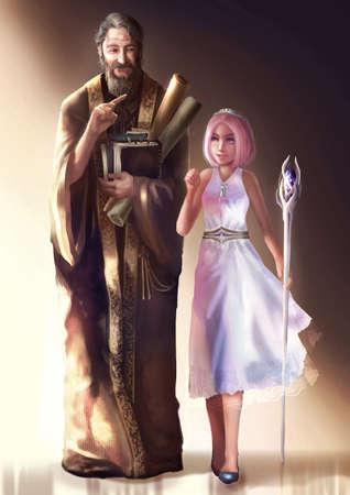 漫画の長老の貴族や高僧のかわいい若い女王や王女歩行 dicussing の図。ファンタジー文字デザイン中世概念。