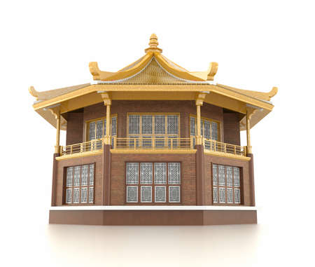 3D golden Chinese pavilion temple building in white background