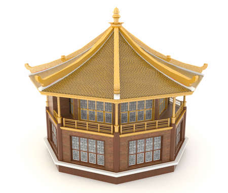 Upper view of 3D golden Chinese pavilion temple building in white background Stock Photo