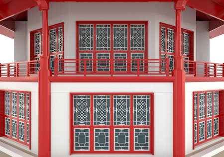 Closeup of 3D red Chinese pavilion temple building in white background