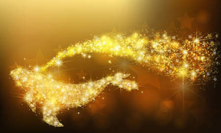 Golden sparkle jewelry whale or dolphin fish flying with glittering stars pattern in advertisement promotion or seasonal holiday celebration colorful background, create by vector
