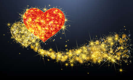 Golden sparkle couple heart with glittering magical dust and stars pattern background. In valentine or love anniversary celebration black isolated banner background layout, create by vector