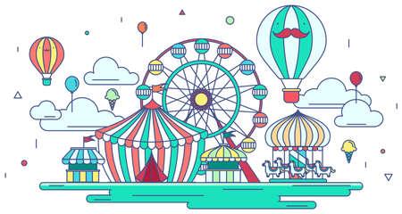 parque de atracciones línea plana o el parque temático de diseño gráfico en el fondo creativo banner publicitario. parque de atracciones plana con el concepto de entretenimiento en el fondo aislado, crear por el vector Ilustración de vector