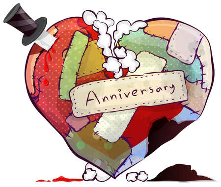 Doll or cushion pillow heart symbol represent everlasting love and relationship. Damage heart almost broken in marriage couple and wedding anniversary or valentine concept, create by vector