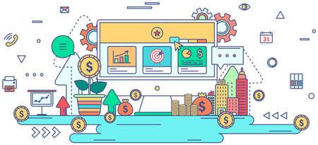 Flaches Linien- und Arbeitsflusstechnologiegrafikdesign in der Finanzzeichen- und Symbolikone des kreativen Geschäfts mit Weiß lokalisierte Hintergrundkonzept, schaffen durch Vektor