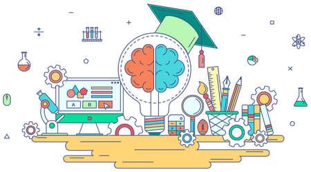 Flat line kennis en creatief onderwijs grafisch ontwerp met creativiteit school en stationair teken en symbool icoon met geïsoleerde achtergrond concept, creëren door vector Stock Illustratie