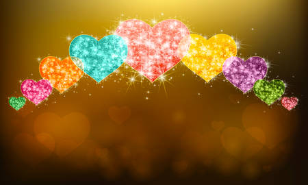 Row of sparkle love hearts symbol with glittering magical dust and stars pattern background with blank space. In valentine or love anniversary celebration colorful banner background layout, create by vector