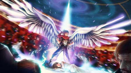 De beeldverhaalillustratie van een grote birdman of wingman strijdersheld barst zijn uiteindelijke macht om zijn prinsessenmeisje te redden. Mannelijke cartoon krijger toont zijn kracht in fantasie superheld concept.