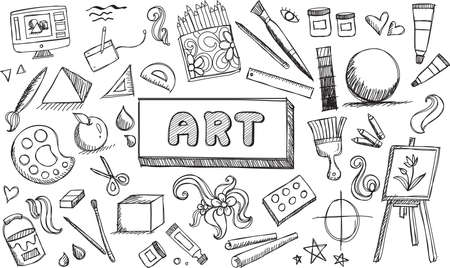 Black and white fine art equipment and stationary doodle and tool model icon in isolated background.