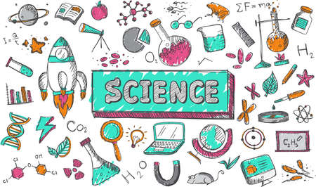 Science chemistry physics biology and astronomy education subject doodle icon.