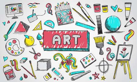 Fine Art Ausrüstung und stationäre doodle und Werkzeug-Modell-Symbol in isolierten Hintergrund. Standard-Bild - 76591138