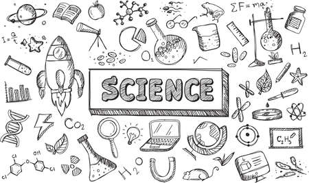 Black and white sketch science chemistry physics biology and astronomy education subject doodle icon.