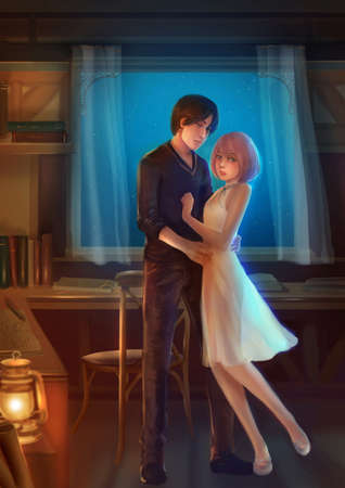 Cartoon illustration of a lover couple showing romantic expression in the room at night in love and fantasy concept. Stock Illustration - 77826509
