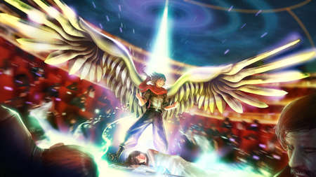 magical: Cartoon illustration of a great birdman or wingman warrior hero is bursting his ultimate power to save his princess girl. Male cartoon warrior shows his power in fantasy superhero concept.