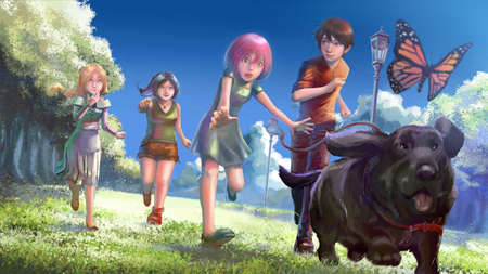 Cartoon illustration of cute young children boy and girls running after a fat black dog and butterfly in the nature park in happy fantasy concept.
