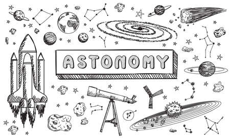 Black and white sketch astronomy science education subject doodle icon, doodle for presenation title or school education promotion in fundamental astronomy science concept, create by vector Illustration