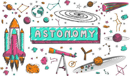 Astronomy science education subject doodle icon doodle for presenation title or school education promotion in fundamental astronomy science concept, create by vector Illustration