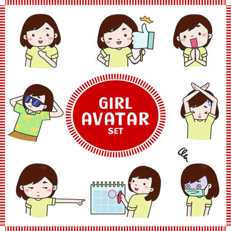 Cute cartoon illustration of girl and woman avatar icon in various planning activities and mood set 3. Girl icon set in Japanese manga style, create by vector