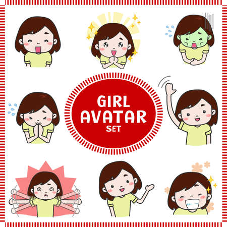 Cute cartoon illustration of girl and woman avatar icon in various activities and mood. Stock Vector - 83434005
