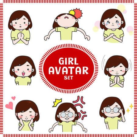 Cute cartoon illustration of girl and woman avatar icon in various activities and mood.