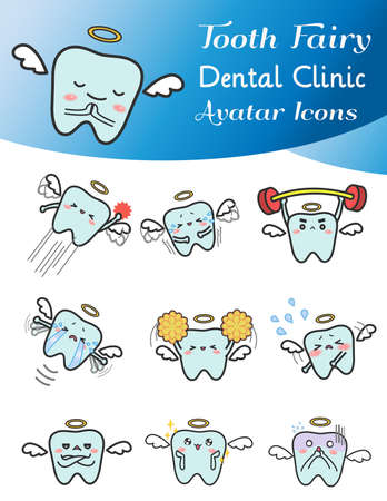 Cute cartoon illustration of tooth fairy avatar icon in various activities and mood.