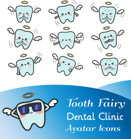 Cute cartoon illustration of tooth fairy avatar icon in various facial expression and mood. Çizim