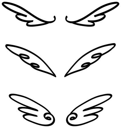 Cartoon illustration doodle of angel or fairy wings icon sketch set. Cartoon wings for comic and decoration usage in isolated background, create by vector.
