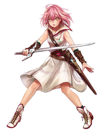 Cute original character design of fantasy female girl warrior or swordswoman magic fencer knight named Lenaria in Japanese manga illustration style with isolated white background