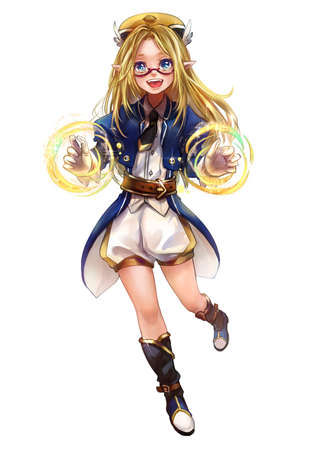 Cute original character design of fantasy female elf girl sorcerer witch or magician with magic spell of her hand named Elna in Japanese manga illustration style with isolated white background