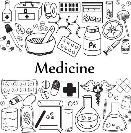 Medicine and pharmaceutical doodle handwriting icons of medicines tools. Sign and symbol in white paper background for health presentation or subject title. Stock Vector - 91365423