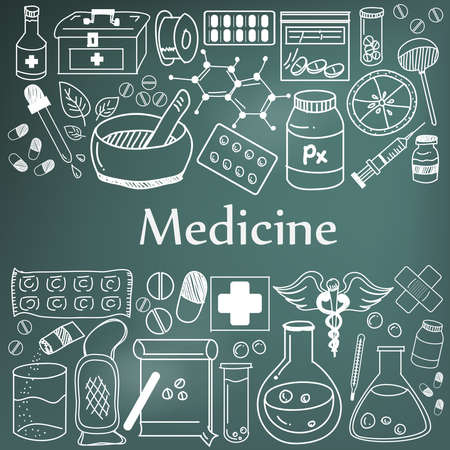 Medicine and pharmaceutical doodle handwriting icons of medicines tools. Sign and symbol in blackboard background for health presentation or subject title.