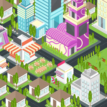 Graphic city building, real estate, house and cityscape architecture in 3D isometric design in cartoon or video game concept, create by vector