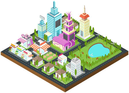 Graphic city building, real estate, house and cityscape architecture with clean wind energy environment and nature in 3D isometric design.