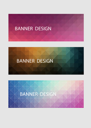 A set of vector banners with polygonal background Illustration