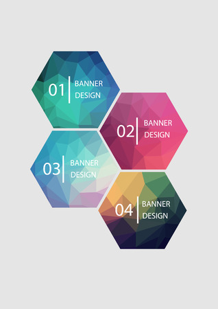 rumpled: A set of vector banners with polygonal background Illustration