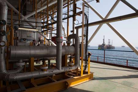 Oil platform constructions and pipes Banco de Imagens