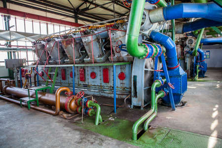 Compressor and Collector Machine in oil refinement factory Stock Photo