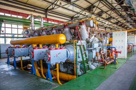 energy work: Compressor and Collector Machine in oil refinement factory Stock Photo