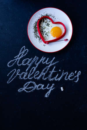 Happy Valentines Day On Plate and Background