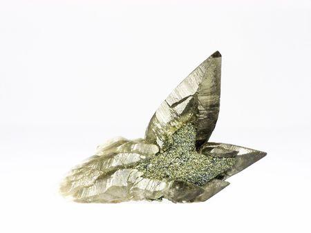 vitreous: Mineral specimen - calcite encasing chalcopyrite