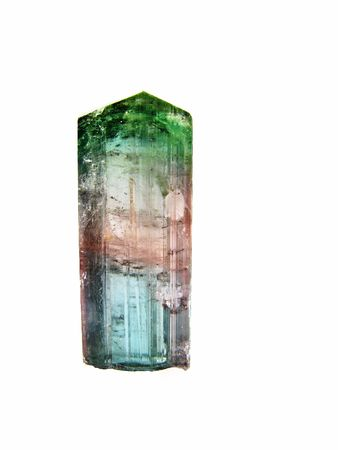 inclusions: A Tourmaline crystal, var. Elbaite Tricolour from Brazil. Of interest to jewellers, collectors and in alternate medicine Stock Photo