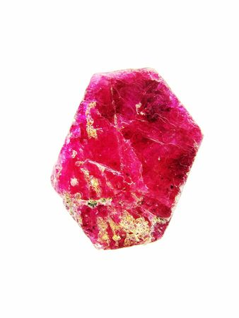 faceting: A deep red pink semi-translucent polished slice of corundum, variety Ruby