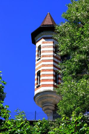octagonal: A Fairytale French Turret of Renaissance form isolated by foliage against a blue sky