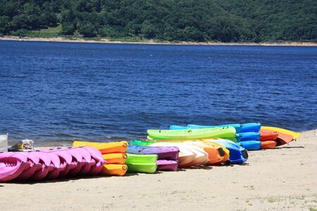 A colourful line of kayaks lies on the beach with the water behind. photo